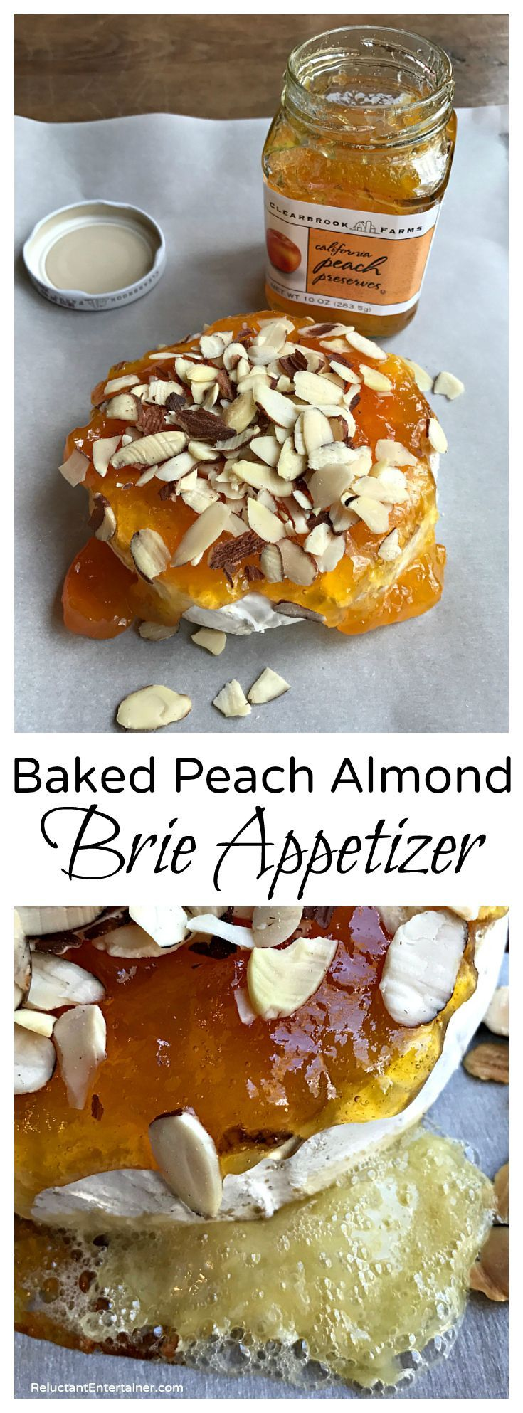 Baked Peach Almond Brie Appetizer, delicious served with gourmet crackers or Ginger Snaps cookies