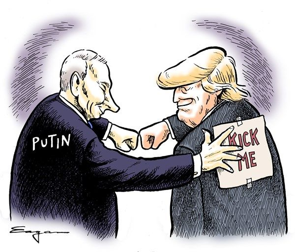 Image result for cartoons about trump's love for russia