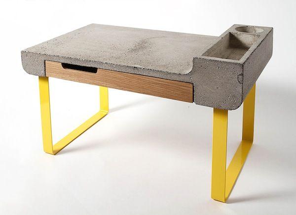 Mesa escritorio de hormigón, metal y madera   -   Concrete, metal and wood writing table