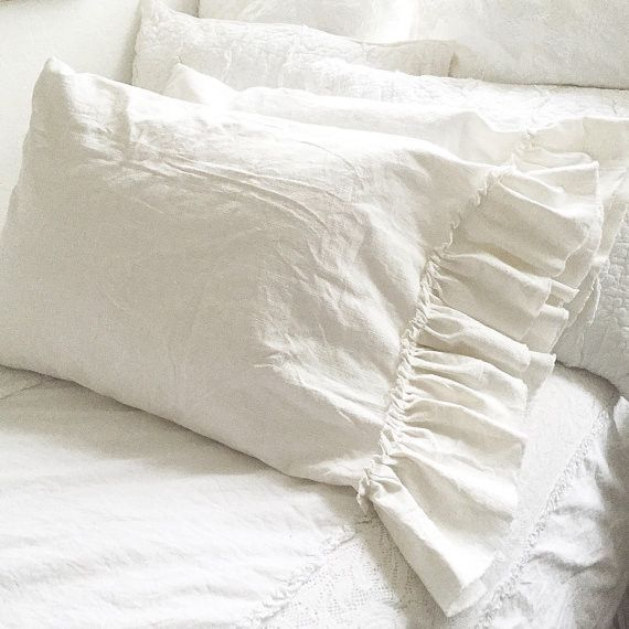 Dreamy White Linen Ruffle Pillowcase Luxury French Shabby Chic Style Bedding