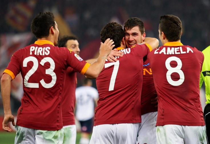 2012/2013 Roma-Genoa Alessio Romagnoli, Marquinho, Erik Lamela, Ivan Piris