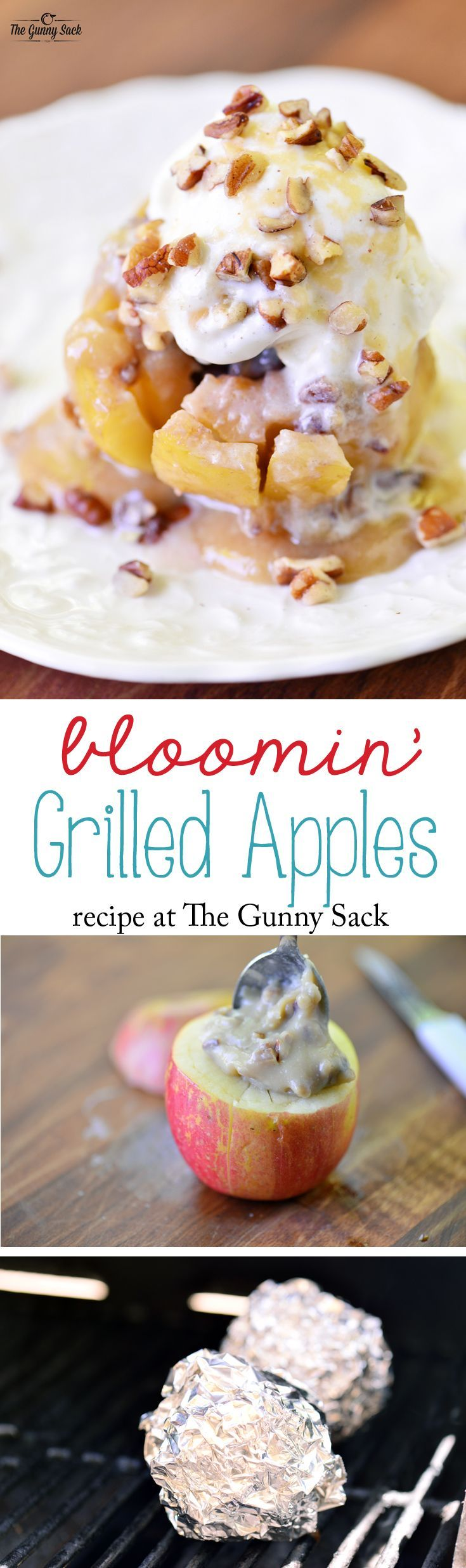 Bloomin' Grilled Apples Recipe: These bloomin' apples are stuffed with maple cream caramel sauce and pecans. Cook them on the grill for a summer dessert!