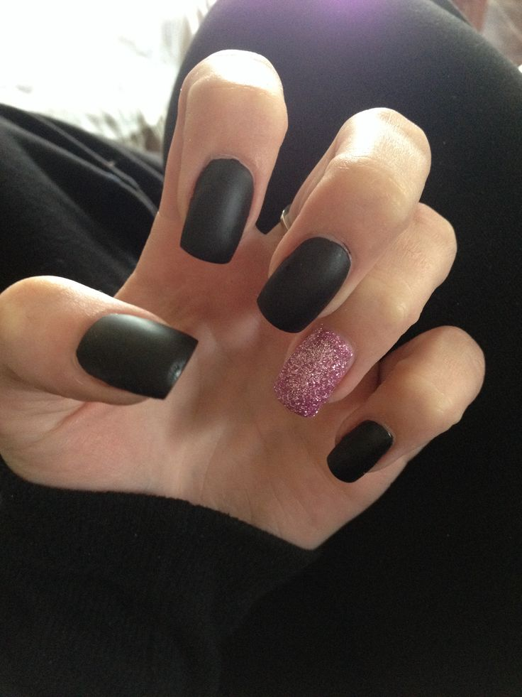 Matte black nails with pink glitter… | Pepe
