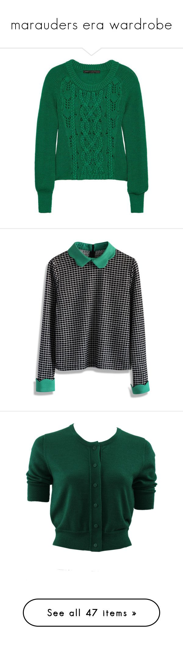 """""""marauders era wardrobe"""" by rebellious-ingenue ❤ liked on Polyvore featuring sweaters, tops, jumpers, shirts, multi, scalloped shirt, tartan plaid shirt, shirt top, plaid collared shirts and plaid top"""