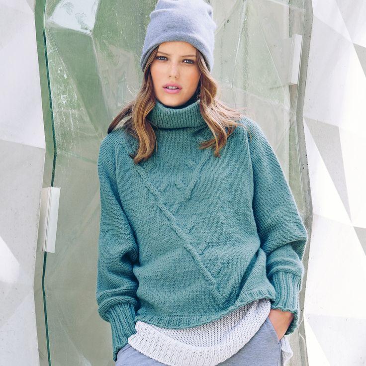 Цельновязаный свитер в спортивном стиле - схема вязания спицами. Вяжем Свитеры на Verena.ru