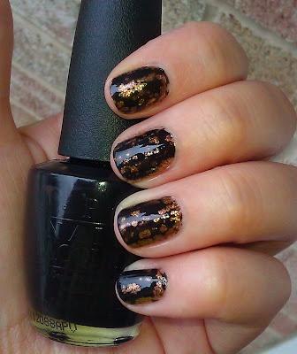 OPI Black Spotted over gold polish
