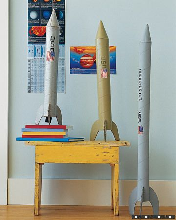 DIY Cardboard Tube Space Ship by marthastewart: A great reuse for those long wrapping paper tubes. Blast off! #DIY #Kids #Space_Ship #Rocket