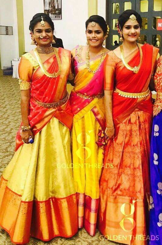 Kanchipuram half sarees on Telugu girls,designs from golden threads