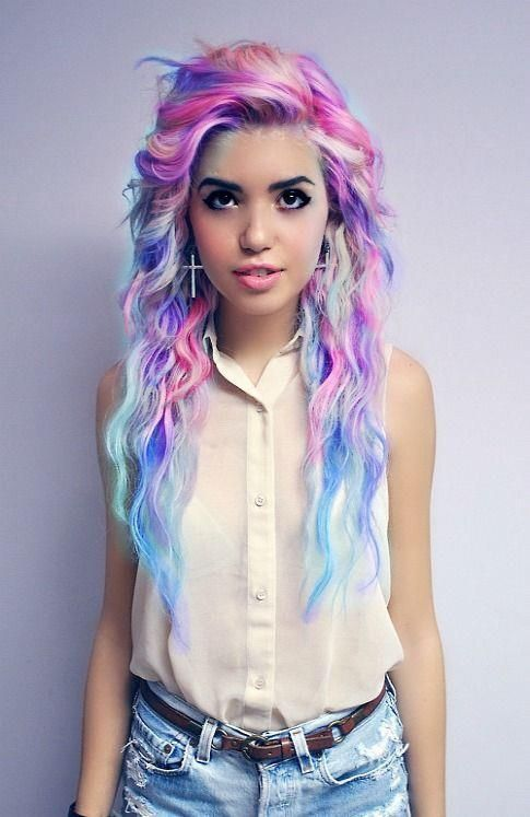 Hair Crazy! Curly Blue Blonde Purple and Pink I would love to dye my hair like this♥ Maybe add more purple into the mix