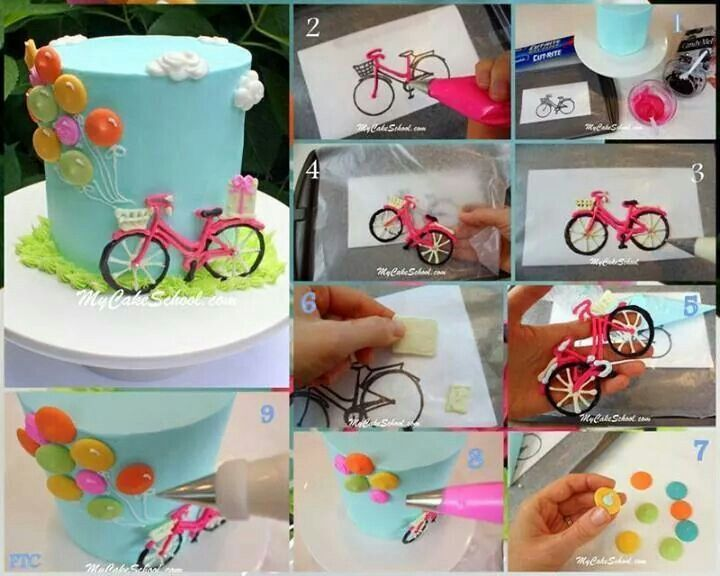 How to royal icing bike on a cake. #taart