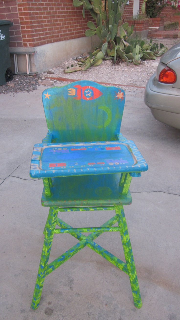 Painted wooden high chairs -  High Chair Painted And Download