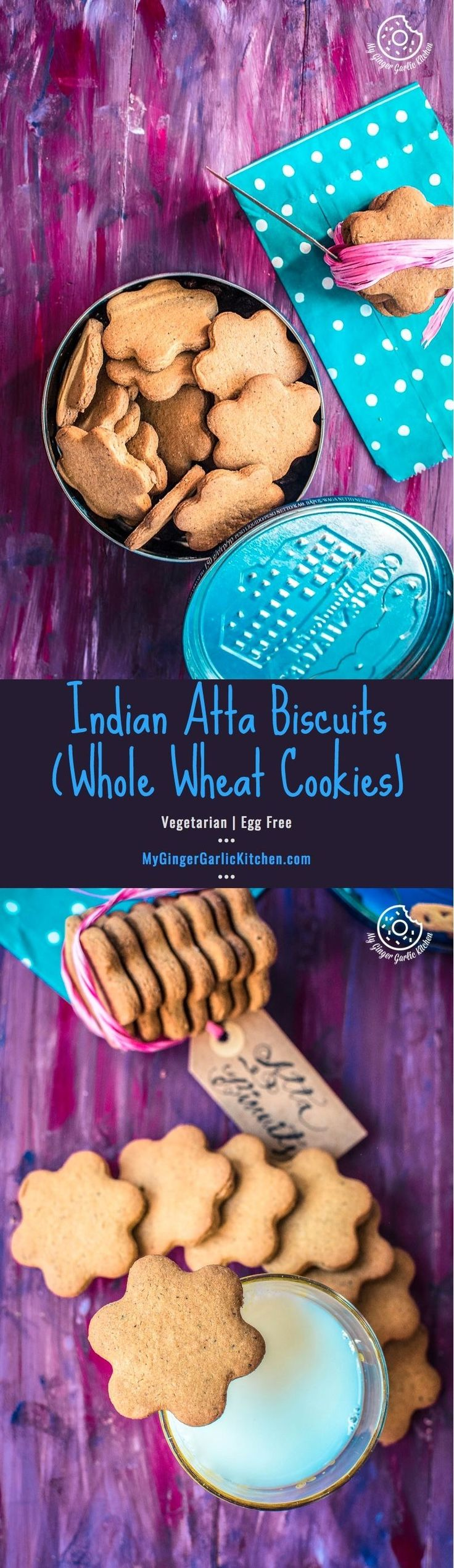 These everyday Atta Biscuits aka Whole Wheat Indian Cookies are popular tea time cookies in India. They are so easy, eggless and crispy and scented with a good amount of cardamom. From: mygingergarlickitchen.com/ #IndianCookies #Biscuits #Indianbaking