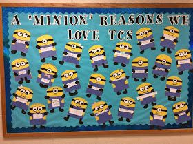 I know that Minions may seem too babyish for middle school but my 6th graders loved making these.  TCS stands for Timothy Christian Sc...