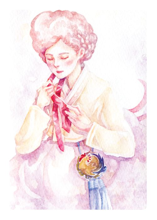Korean Hanbok Illustration - Lunar New Year, Year of the Rooster.