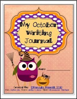 """FREE LANGUAGE ARTS LESSON - """"My October Writing Journal Cover"""" - Go to The Best of Teacher Entrepreneurs for this and hundreds of free lessons. 1st - 3rd Grade  #FreeLesson   #LanguageArts   #Halloween http://www.thebestofteacherentrepreneurs.net/2016/09/free-language-arts-lesson-my-october.html"""