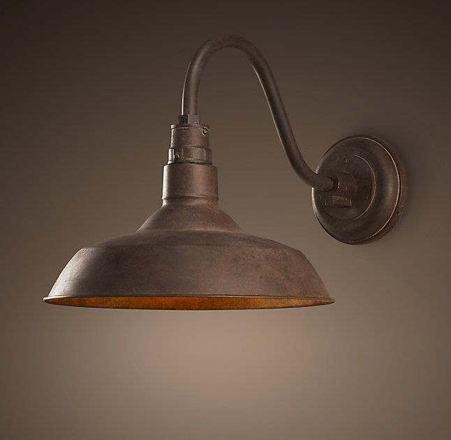 RH's Vintage Barn Sconce:A reproduction of an enamel pendant that's been a fixture – literally – in barns across the country for the last century, this design classic deserves to be brought indoors. We preserved the functional design, and gave it a new look in a variety of finishes. – Joyce Colson