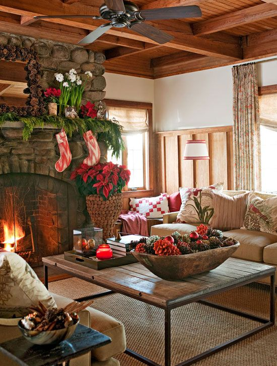 living room - rustic home Christmas decor, Traditional Home December 2012