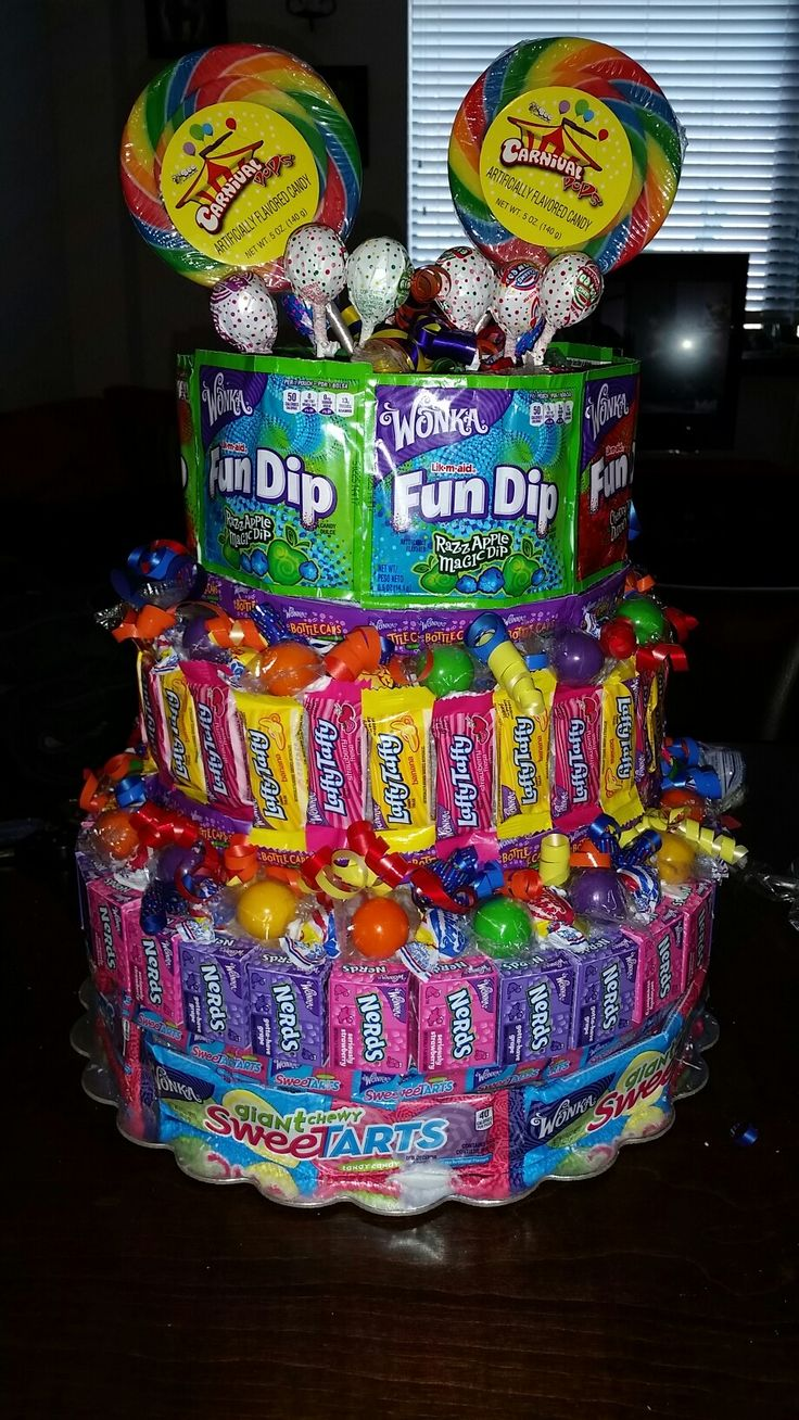 Candy Cake.,made out of Many different types of Candy..