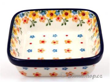 Spring pattern Squared BOWL 13/13 cm . This Handmade Polish Pottery bowl is from ELIMAshop.cz . Boleslawiec . Bunzlau . ceramics . stoneware . spring design . ( miska čtvercová větší 13/13 cm )