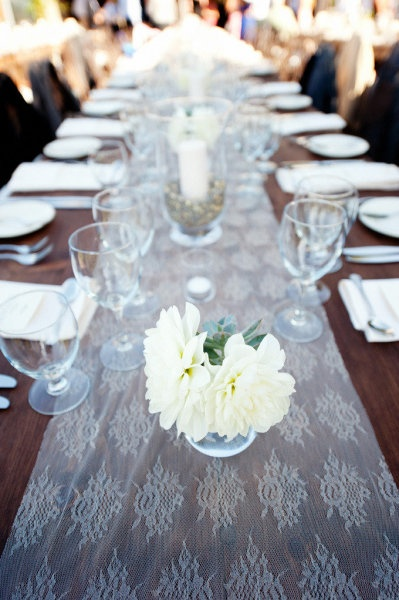 what about grey lace? that could be give it the more rustic --- rather than preppy --- feel.