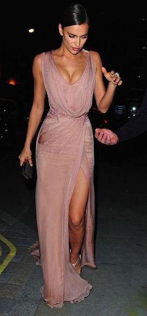 Charming Pink Prom Dress, Beaded Evening Dress, Side Slit Party Dress, Sexy Evening Dress ...