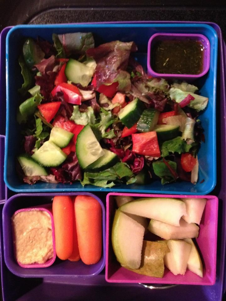 Kids Lunchbox Ideas - Bento Box Laptop Lunches - Salad with Dressing, Carrots with Hummus, Sliced apples/pears - gluten-free, egg-free, dairy-free, soy-free, nut-free, peanut-free, vegan. www.maywebeallergyfree.wordpress.com