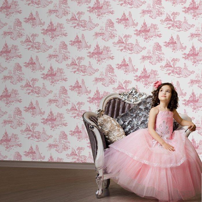 Princesses Papier peint toile rose Graham and Brown