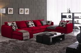 : Decor Ideas, Houses Ideas, Modern Black, Rooms Ideas, Sofas Sets, Black Microfiber, Red Couch, Living Rooms Furniture, Sectional Sofas
