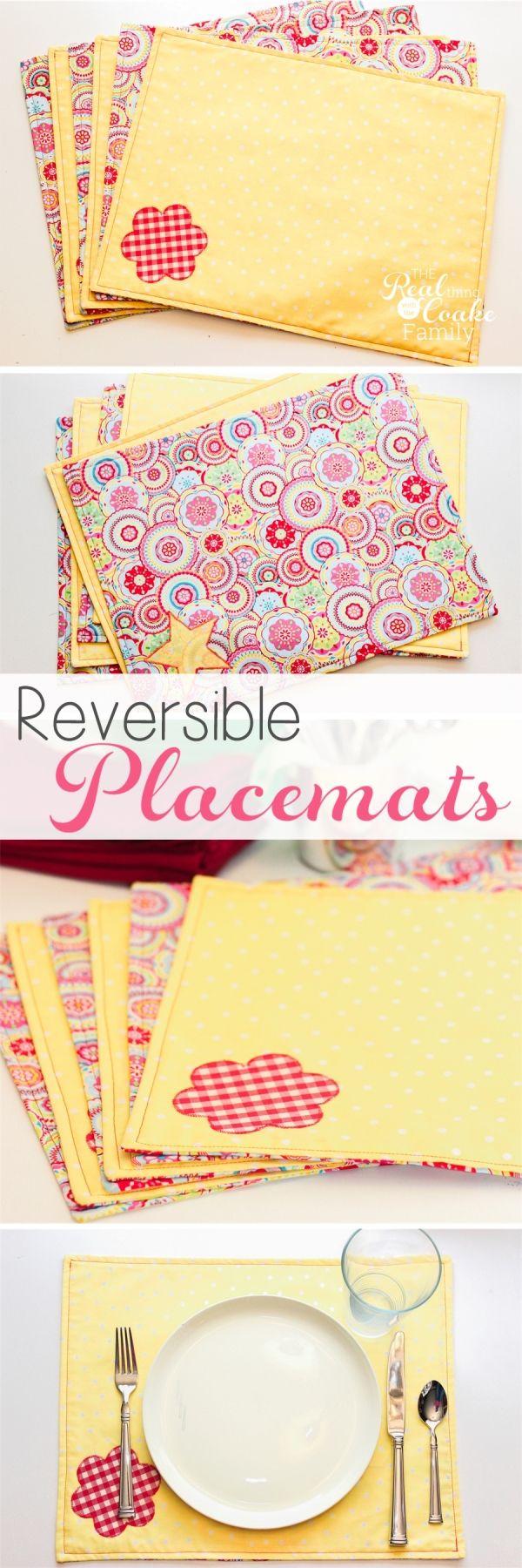 Combina los colores y texturas que más te gustan para hacer estos manteles reversibles #manteles #costura #proyecto