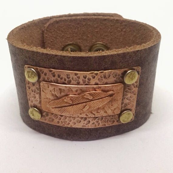 Brown Leather Cuff Bracelet for women with Copper feather