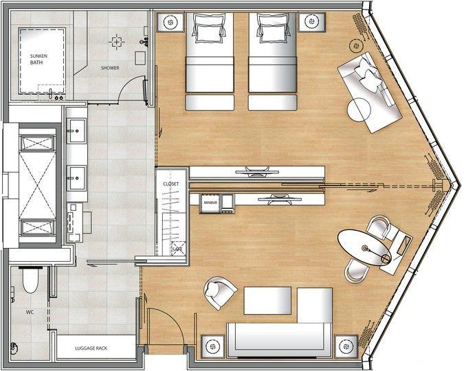 Deluxe Suite Floor Plan Hotel room plan, Hotel floor