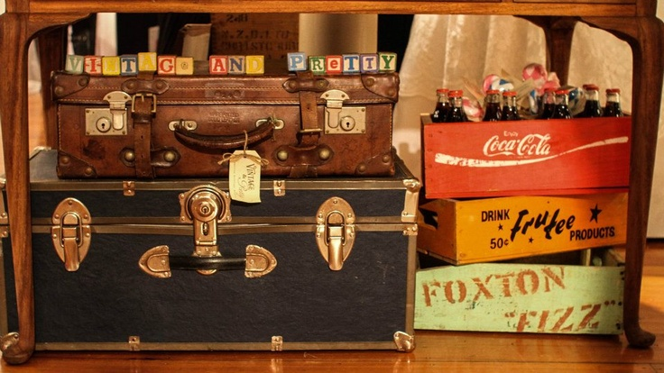 Vintage & Pretty alphabet blocks, trunks, leather suitcases and crates.