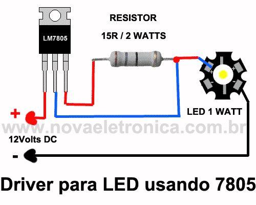 Driver de LED usando 7805