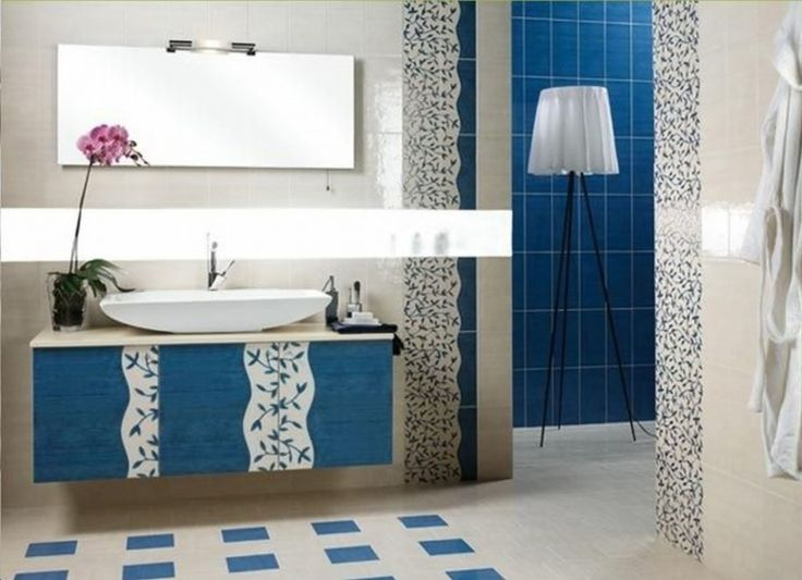 15 Awesome Bathroom Color Ideas : 15 Awesome Bathroom Color Ideas With  White Blue Tiles Walls