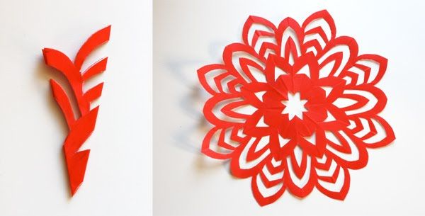 How to make 5-pointed paper snowflakes