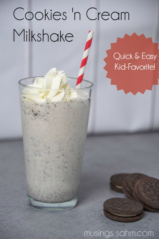 This Cookies 'n Cream Milkshake recipe is super easy to make and the whole family will love the creamy flavor and chunks of chocolate cookies. #TruMoo #ad