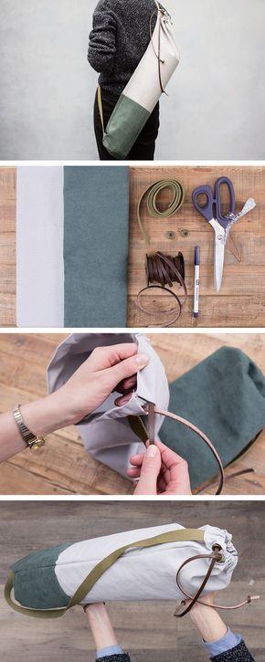 DIY tutorial: Sew a Canvas & Suede Yoga Bag via en.DaWanda.com