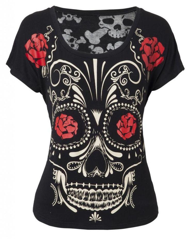 Sugar Skull Day of the Dead Shirt Top Jawbreaker Día de los Muertos Burnout. Found on ebay