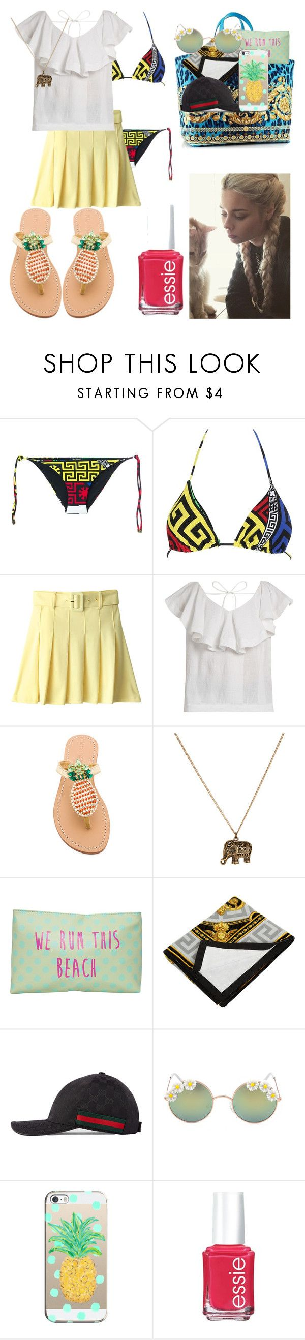 """""""fun"""" by dovelytaehyung ❤ liked on Polyvore featuring Versace, CECILIE Copenhagen, Mystique, Accessorize, T-shirt & Jeans, Gucci, Full Tilt, Casetify and Essie"""