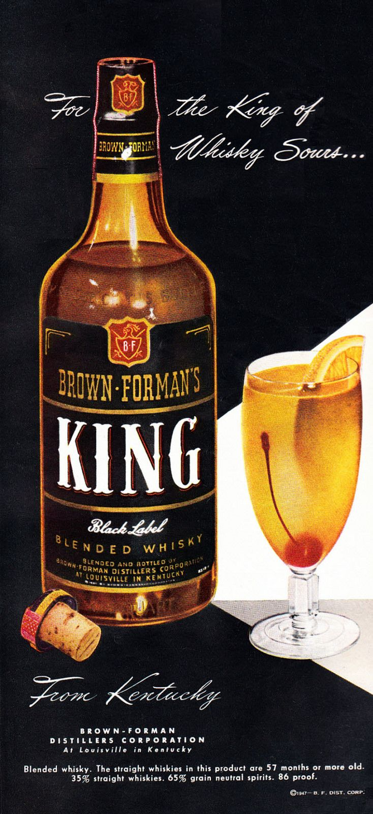"""https://flic.kr/p/oTtJ4Q   1947 Liquor Ad, Brown & Forman's King Black Label Whisky, """"For the King of Whiskey Sours""""   Published in Cosmopolitan, August 1947, Vol. 123, No. 2  Fair use/no known copyright. If you use this photo, please provide attribution credit; not for commercial use (see Creative Commons license)."""