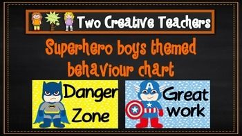 Two Creative Teachers - Superhero Theme Behaviour Management Chart $2.00     This product contains posters that include the words: outstanding effort, awesome job, great work, ready to learn, stop and think, danger zone, teacher choice and parent contact. If you like the theme and have different words in mind, please email us and we can adapt and send you a copy.How To Use This Resource:Display this in the classroom or hang it in the room. #twocreativeteachers