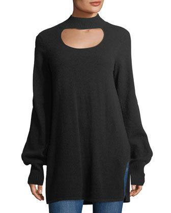 Cashmere+High-Neck+Cutout+Tunic+by+Neiman+Marcus+at+Neiman+Marcus+Last+Call.