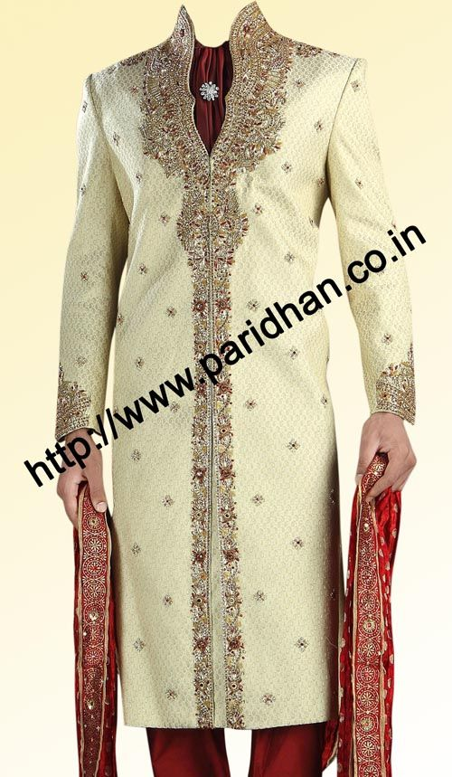 This type of embroidery for Dave with more crystal work.   Royal look ivory brocade designer exuberant sherwani with embroidery on collar, front, Sleeves cuff. It has red churidar pyjama at bottom. Dryclean only.