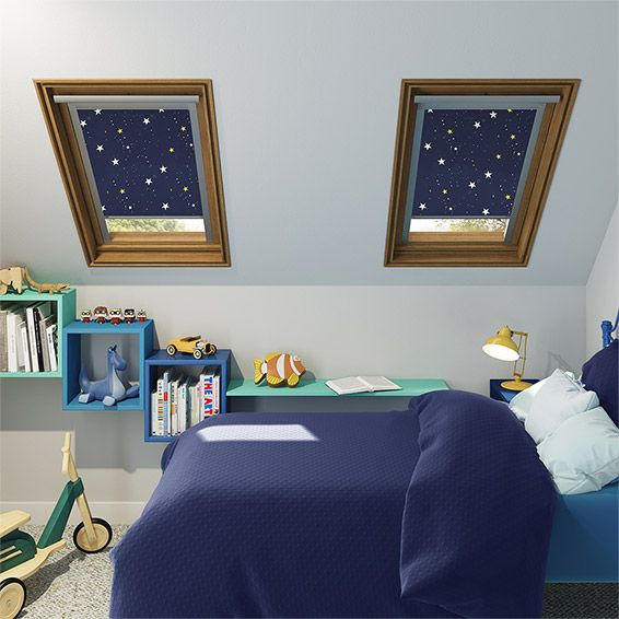 Specifically designed to fit your Velux ® roof window perfectly, this cool Expressions Starry Night blind gives you a view of the night sky while also providing you with almost complete blackout.