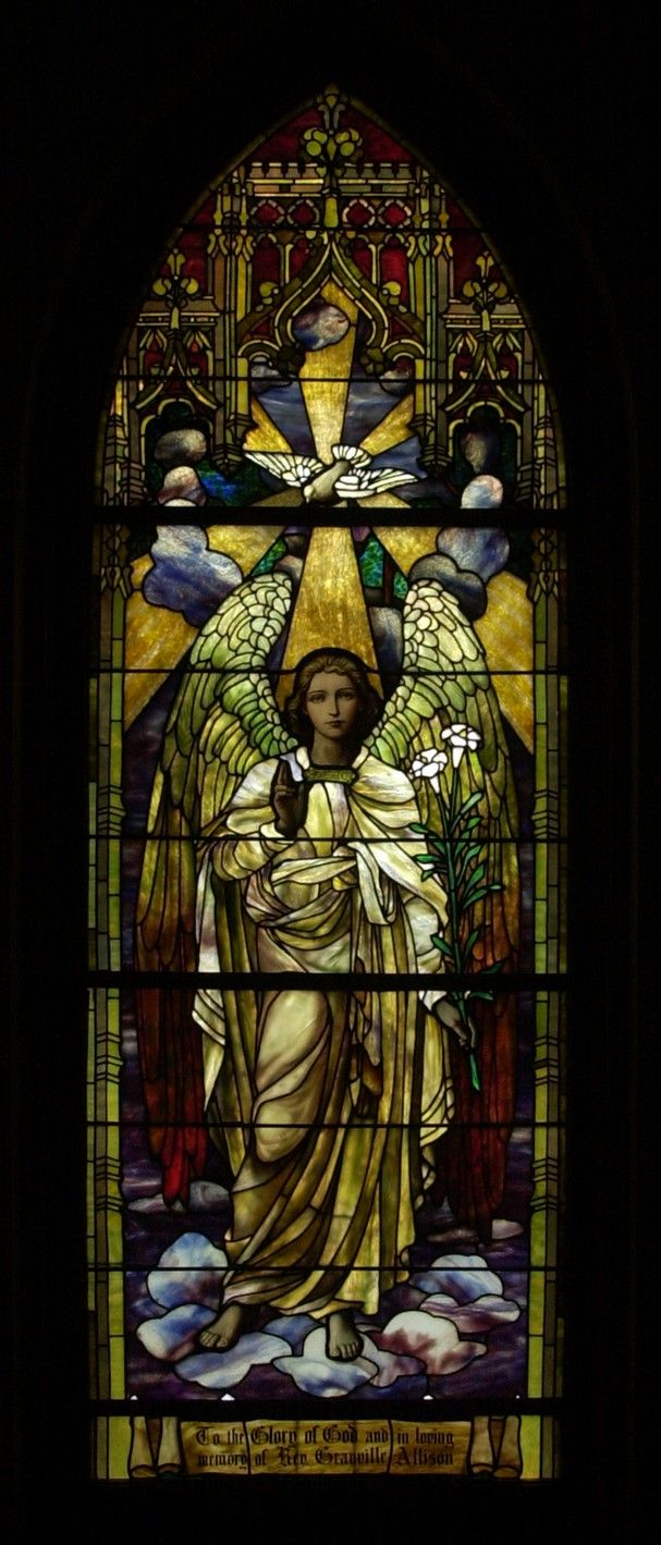One of three Tiffany windows in Trezevant Hall at Grace-St. Luke's Episcopal Church.  This window is titled 'The Morning Angel.'
