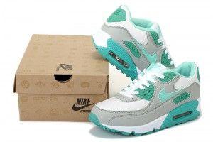 Nike Air Max 90 Schoenen Dames Grijs/Wit/Groen
