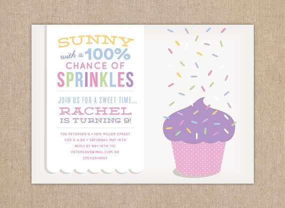 Children's Birthday Party Invitation / Sprinkle Birthday Party Invitation / DIY PRINTABLE / Cupcake Sprinkles