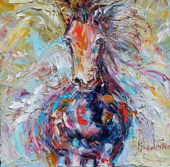 Original painting Wild Horse Run equine palette knife oil ...