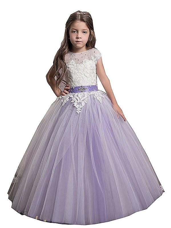 9ecd6542b8e Aprildress White Purple Flower Girl Dresses with a Shawl Girls  Pageant Dress  for Teens ALD077