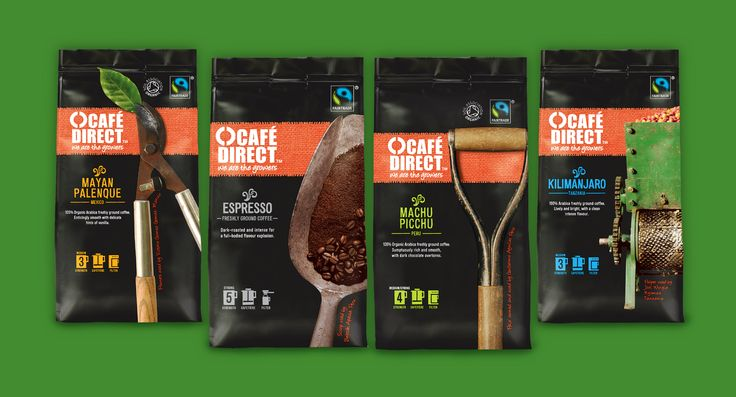 Cafédirect packaging #design by Carter Wong design.  Our chosen solution was to showcase the growers' actual tools: to symbolise their work and the active partnership between themselves and Cafédirect.